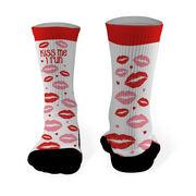 Running Printed Mid Calf Socks Kiss Me I Run with Lip Pattern