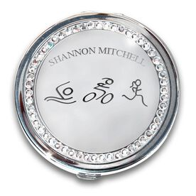 Silver Personalized Triathlete Figures Compact Mirror