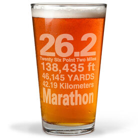 26.2 Math Miles 20oz Beer Pint Glass