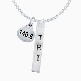 Sterling Silver Hand Stamped Tri Rectangular Pendant with Sterling Silver 140.6 Oval Charm Necklace