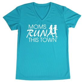 Women's Running Short Sleeve Tech Tee - Moms Run This Town Logo (White)