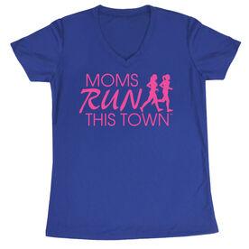 Women's Running Short Sleeve Tech Tee - Moms Run This Town Logo (Pink)