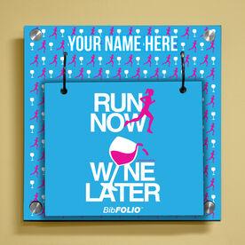 Personalized Run Now Wine Later Wall BibFOLIO® Display