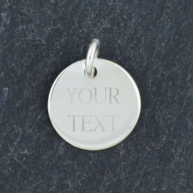 Sterling Silver Custom Engraved  12mm Circle Charm