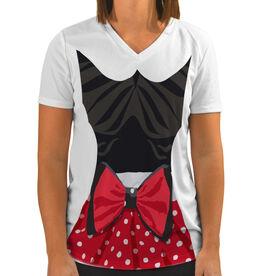 Women's Customized White Short Sleeve Tech Tee Polka Dot