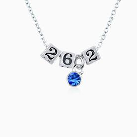 Sterling Silver 26.2 Marathon Beads and Swarovski Crystal Necklace