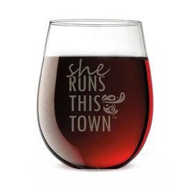 Running Stemless Wine Glass - She Runs This Town