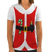 Women's Customized White Short Sleeve Tech Tee Santa Runner