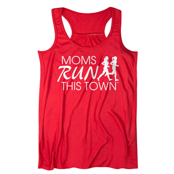 Flowy Racerback Tank Top - Moms Run This Town Logo (White)