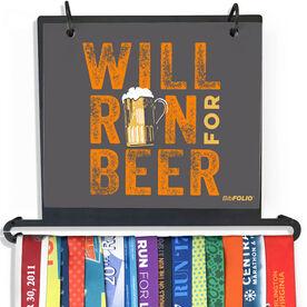 BibFOLIO Plus Race Bib and Medal Display - Will Run For Beer