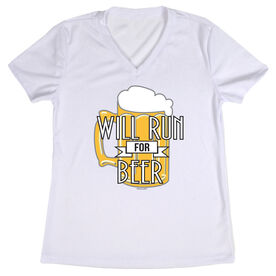 Women's Customized White Short Sleeve Tech Tee Will Run For Beer (Deco)