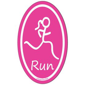 Run Girl Car Magnet - Pink (Vertical)
