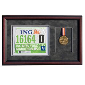 Cherry Wood Race Bib & Medal Frame for Runners and Triathletes