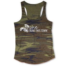 Running Camouflage Racerback Tank Top - She Runs This Town Logo (White)