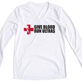 Women's Customized White Long Sleeve Tech Tee Give Blood Run Ultras