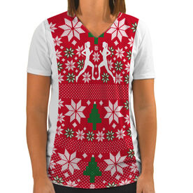 Women's Customized White Short Sleeve Tech Tee Ugly Sweater Vest