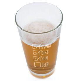Swim Bike Run Checklist 20oz Beer Pint Glass