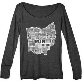Women's Scoop Neck Long Sleeve Runners Tee Ohio State Runner