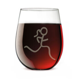 Running Stemless Wine Glass Run Girl Stick Figure