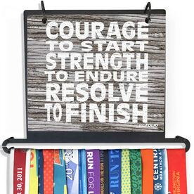 BibFOLIO Plus Race Bib and Medal Display Courage, Strength, Resolve (Rustic)