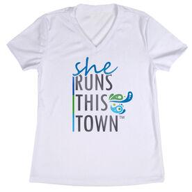 Women's Running Short Sleeve Tech Tee - She Runs This Town Stacked