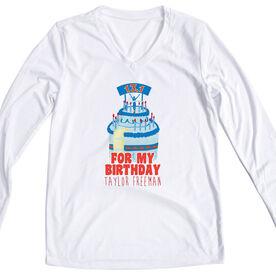 Women's Customized White Long Sleeve Tech Tee For my Birthday 13.1