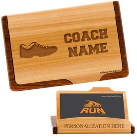Running Coach Maple Business Card/Credit Card Holder