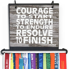 BibFOLIO Plus Race Bib and Medal Display Courage, Strength, Resolve (Rustic)