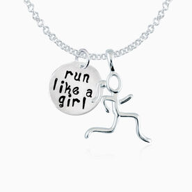 """Sterling Run Like a Girl 5/8"""" Circle Hand Stamped Curly Font Pendant & Stick Figure Runner Necklace"""
