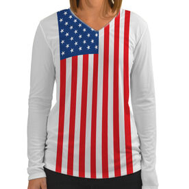 Women's Customized White Long Sleeve Tech Tee American Flag