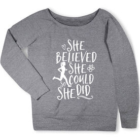 Running Fleece Wide Neck Sweatshirt - She Believed She Could (Sketch)