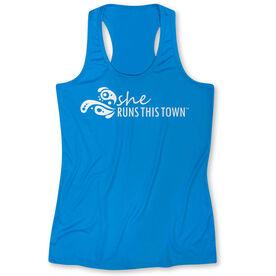Women's Performance Singlet - She Runs This Town Logo (White)