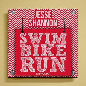 Personalized Swim Bike Run (Stacked) Wall BibFOLIO® Display