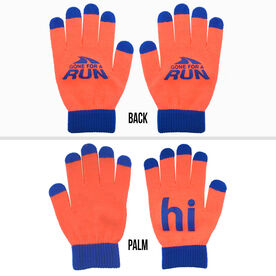 Running Gloves with Touch Screen Fingers - Orange/Blue