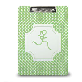 Running Custom Clipboard Runner Girl Stick Figure With Quatrefoil