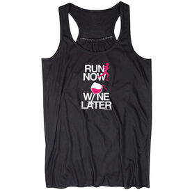 Flowy Racerback Tank Top - Run Now Wine Later (White/Pink)