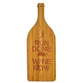 Wine Bottle Laser Engraved Bamboo Cutting Board Run Done Wine Now