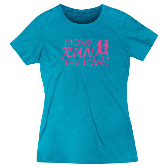 Women's Everyday Runners Tee - Moms Run This Town Logo (Pink)