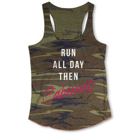 Running Camouflage Racerback Tank Top - Run All Day Then Cabernet