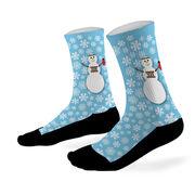 Running Printed Mid Calf Socks Runner Snowman