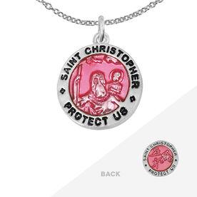 Triathlete St. Christopher Necklace - Pink (1.5cm)