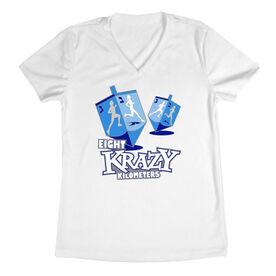Women's Customized White Short Sleeve Tech Tee Eight Krazy Kilometers