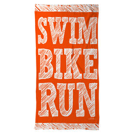 Triathlon Beach Towel Swim Bike Run Stacked