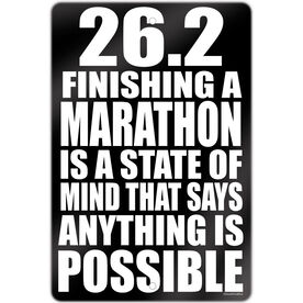 """Running Aluminum Room Sign 26.2 Anything Is Possible (18"""" X 12"""")"""