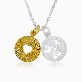 Livia Collection Sterling Silver and 14K Gold Vermeil Tri Figures Love Necklace