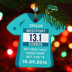 Running Porcelain Ornament Custom Bib-Date Race Time Shirt Ornament