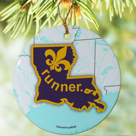 Louisiana State Runner (Purple/Yellow) Porcelain Ornament