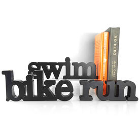 Swim Bike Run Wood Words