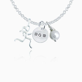 """Sterling Necklace w/ Mom Hand Stamped Curly Font .5"""" Pendant, Stick Figure Runner Charm, & Pearl"""