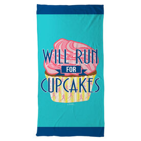 Running Beach Towel Will Run For Cupcakes